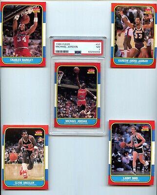 1986-87 Fleer Basketball Set 1-132 Michael Jordan Rookie RC PSA 7 SHARP SET!!