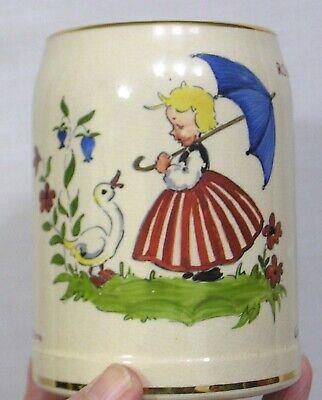 Vintage German Beer Mug signed Kaiser Lautern Girl and Duck in Garden 1954