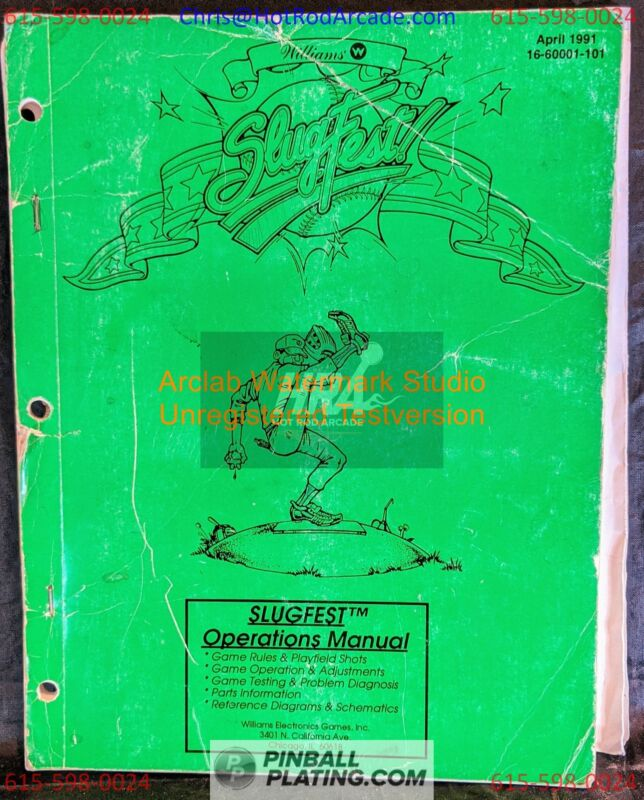 Slugfest - Williams - Pinball Manual - Schematics - Instructions - Used