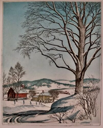 """Leon Pescheret Signed Color Etching """"Our Hills"""" Number 42 In Matte"""