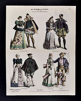 1880 Braun Costume Print 16th c. German Nobility Nuremberg Milk Maid Cart Driver