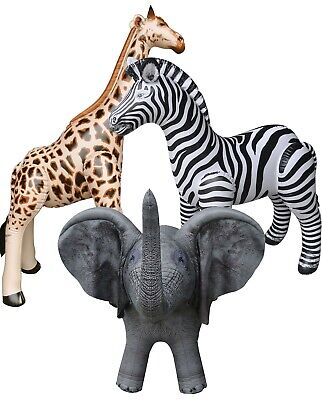 3 Inflatable Zebra Giraffe Elephant Stuffed Animals Jungle Wild Safari Toys Gift
