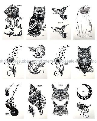 US SELLER, 12 sheets waterproof tattoos owl bird temporary tattoo