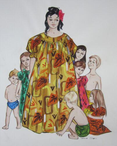 Vintage Hawaiian Woman Children Painting Muu Muu Original Illustration Art Orig