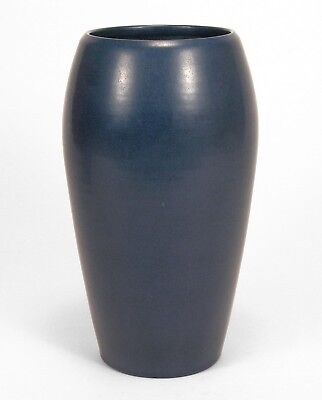 """Marblehead Pottery 9 1/8"""" large undecorated matte blue ovoid vase arts & crafts"""