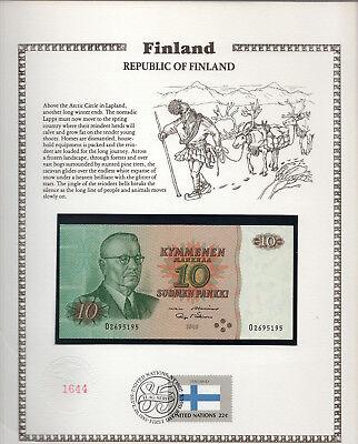 Finland 10 Markkaa 1980 P111a.39 GEM UNC w/FDI UN FLAG STAMP Alenius - Makinen