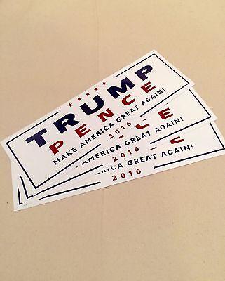 Donald Trump Mike Pence Bumper Sticker (3 pack)- 2016 Make America Great Again!