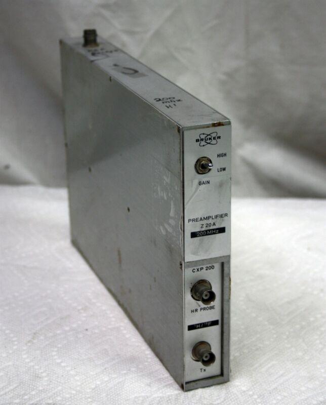 Bruker Z 20 A 200 MHz Preamp with CXP 200 for H1 F19 HR Probe NMR Spectroscopy