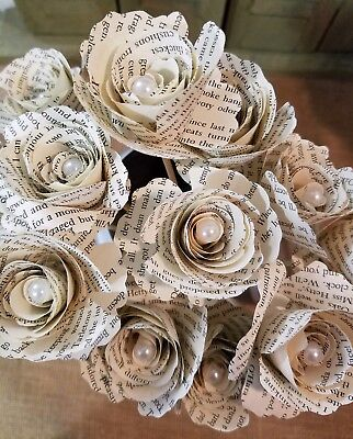 One Dozen Book Page Flowers Harry Potter Gone With The Wind Wedding Birthday