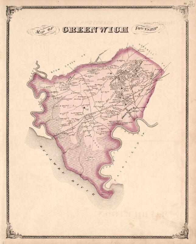 1876 Atlas CUMBERLAND COUNTY NEW JERSEY plat map GENEALOGY history DVD P62