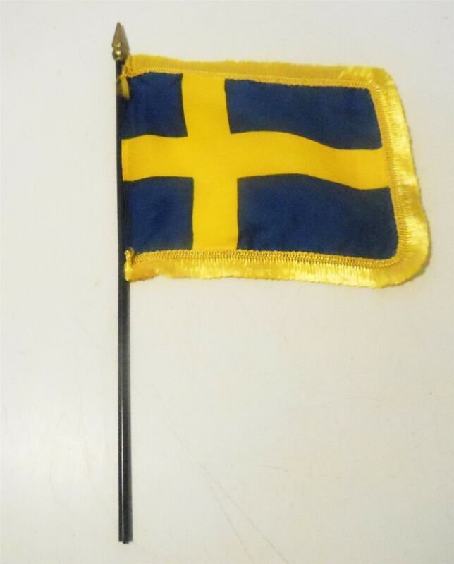 "Sweden Flag 4 X 6 Inch With Fringe Mounted on Black 10"" Gloss Staff"