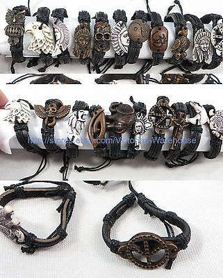 50 cents each, lot of 100 charm bracelet hippie punk cheap wholesale jewelry lot