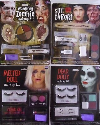 HALLOWEEN MAKEUP & APPLIANCE KIT– ZOMBIE -SLIT THROAT -MELTED DOLL or DEAD DOLLY - Halloween Makeup Dolls
