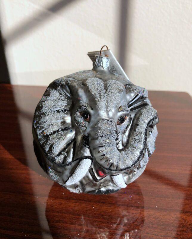 NWT! SLAVIC TREASURES Glass Elephant Silver Glitter Christmas Ornament Handcraft