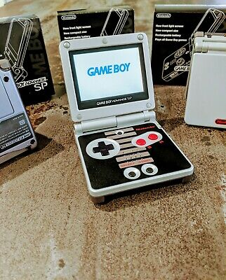 101 Shell - Nintendo Game Boy Advance SP AGS 101 Backlight Screen, NES Shell, Box, Charger
