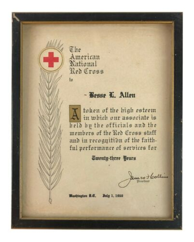 Vintage 1966 American National Red Cross Framed Token of Esteem 23 Year Service