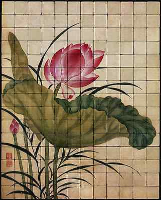48x60 Lotus Backsplash Mural Tumbled Marble Tiles Kitchen Ideas Bing Yun