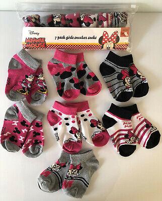 Mädchen Socken Set (7 Paar Disney Minnie Mouse Maus Sneaker Socken Pack Mädchen Strümpfe Set 27-30)