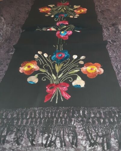 """Older Vintage Woven Wool, Silk Embroidered Large Floral Ethnic 25"""" W x 85"""" L"""