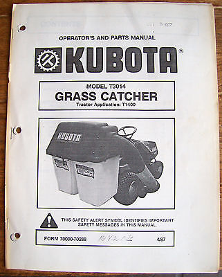 Kubota Model T3014 Grass Catcher Tractor Application T1400 April 1987 Lot 420