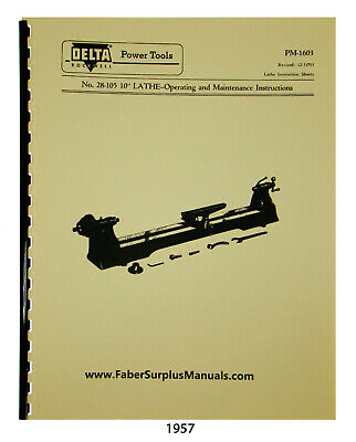 Delta Rockwell 28-105 10 Wood Lathe Instruction Parts List Manual 1957
