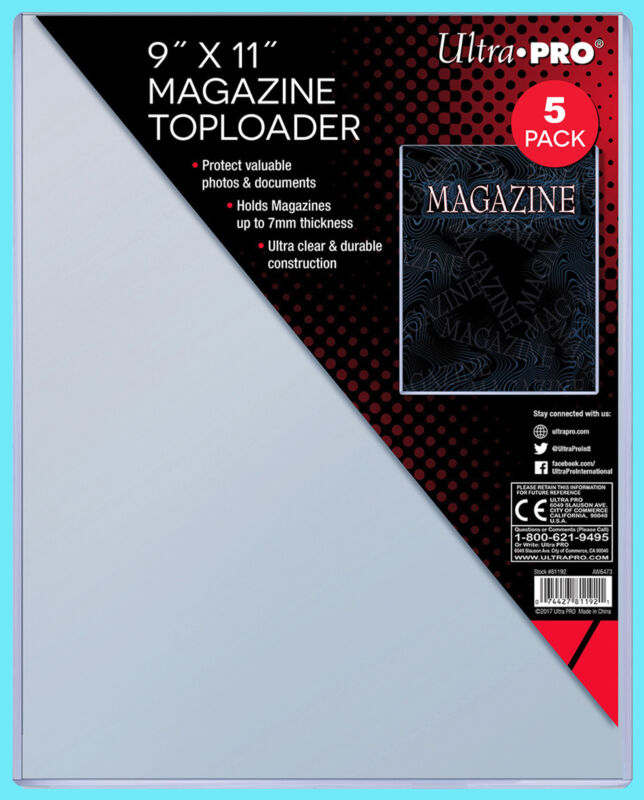 """5 Ultra Pro 9""""x11"""" Thick Magazine Holder TOPLOADERS NEW Protector Document 7MM"""