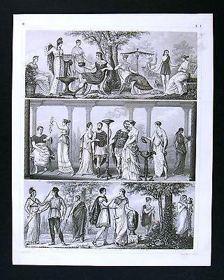 1849 Bilder Print Ancient Greece Greek Costume Dress Togas Maidens Youths - Greek Togas