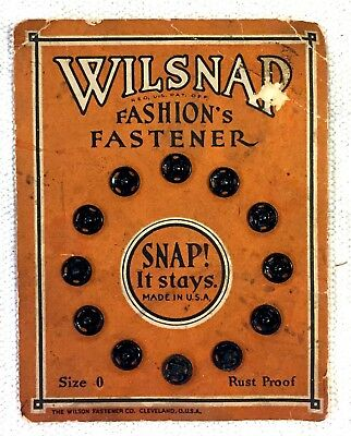 Antique Wilsnap Fashion's Fastener Snap Card Sewing Notions Lithograph JSN37