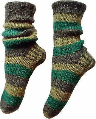 Fair Trade Nepalesisch Winterwolle Hausschuh Bunt Gestreifte Socken Größen -