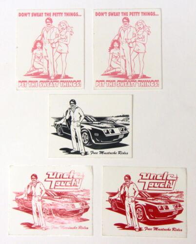 """Vintage Free Mustache Ride 5 Sticker Set 3.25"""" x 2.75"""""""