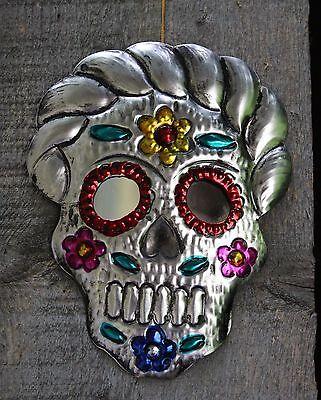 Day of the Dead Frida Sugar Skull, Tin Wall Mirror Mexican Folk Art Los Muertos