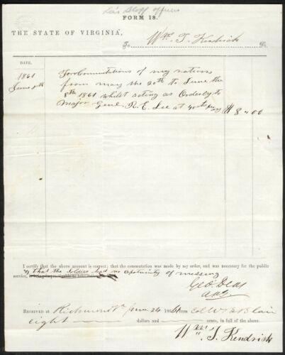 1861 Virginia Ration Document – Orderly for Maj. Gen. Robert E. Lee