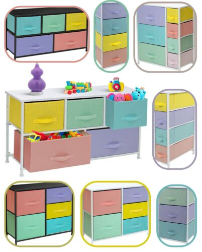 Furniture Dresser w/ Drawers - Assorted Storage Organizer Chests - Pastel Medley
