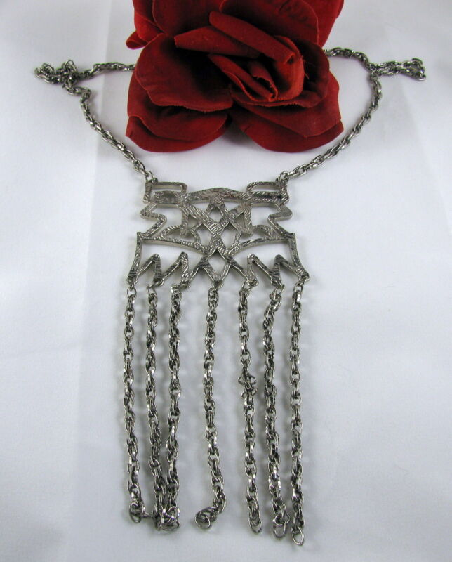 Vintage Silver tone Tassel Ornate Necklace CAT RESCUE