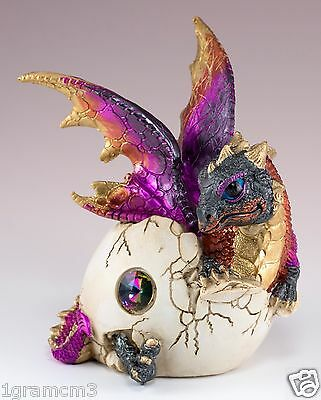 """Purple Baby Dragon Hatching From Egg Figurine Hatchling 5.25"""" Detailed Resin NIB"""