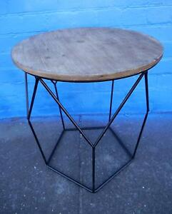New Geometric Style Black Wire Round Rustic Timber Side Tables Melbourne CBD Melbourne City Preview