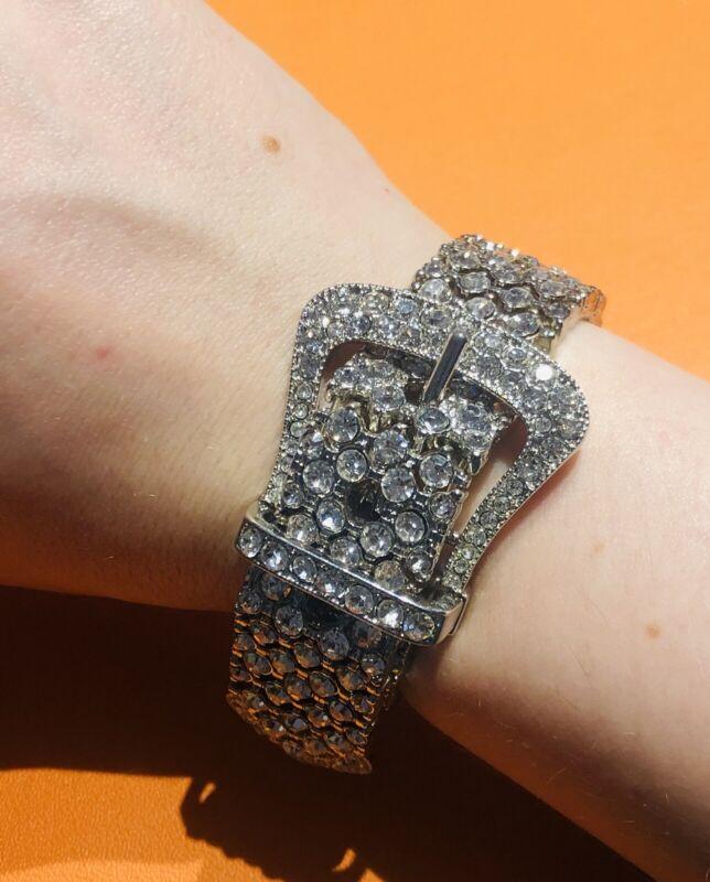Vintage Wide Rhodium Plated Crystal Buckle Stretch Women's Bracelet