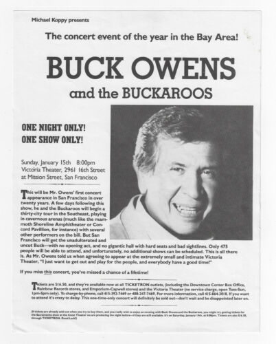 BUCK OWENS & THE BUCKAROOS Concert Handbill Flyer / Victoria Theater SF 1-15-89