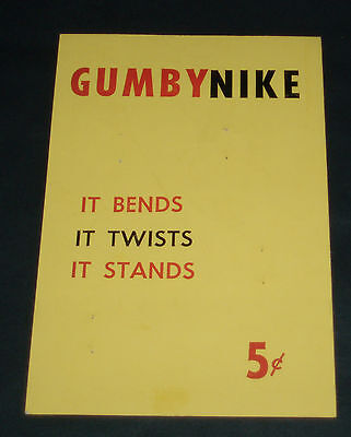 Vintage GUMBY NIKE Gumball Machine Insert Card