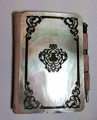 Antique French Mother Of Pearl & Silver Dance Calling Card Case Book & Pencil