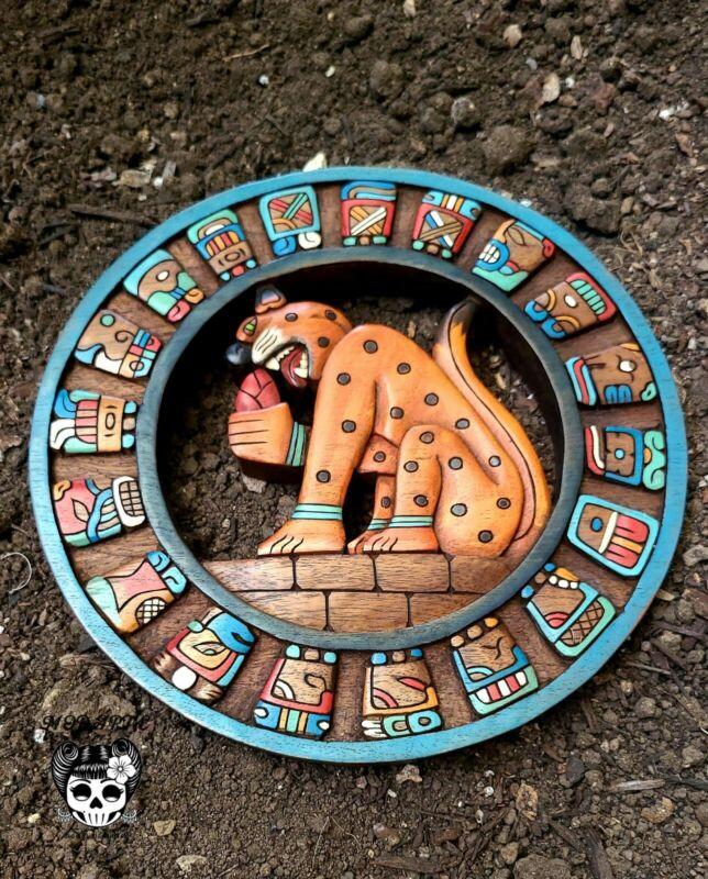 "Mayan Mask Mexican Hand Carved Cedar Maya Folk Art Aztec Decor 15""Mayan Calendar"