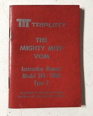 Instruction Manual For Triplett Mighty Mite Vom Model 310 V0m Type 2 Used.