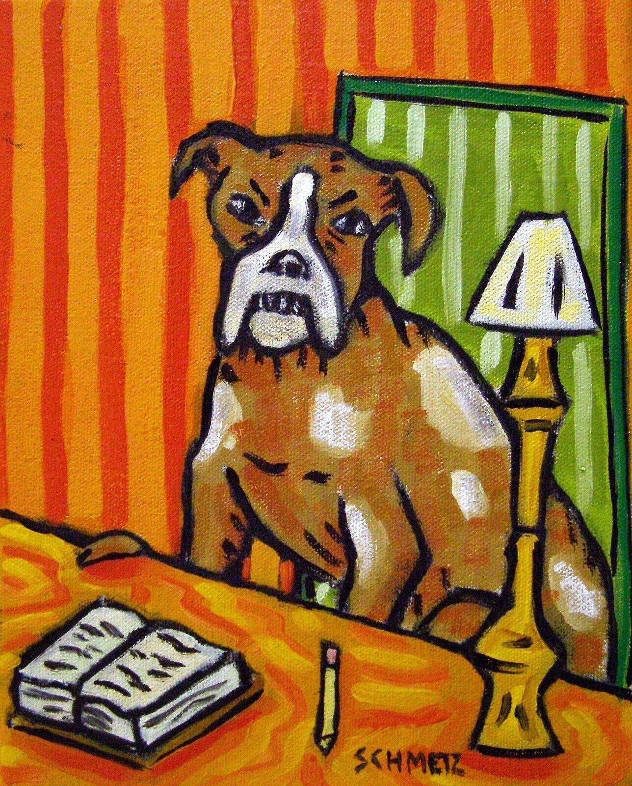 boxer dog pet salon bathroom wall art 11x14  art art PRINT animals new