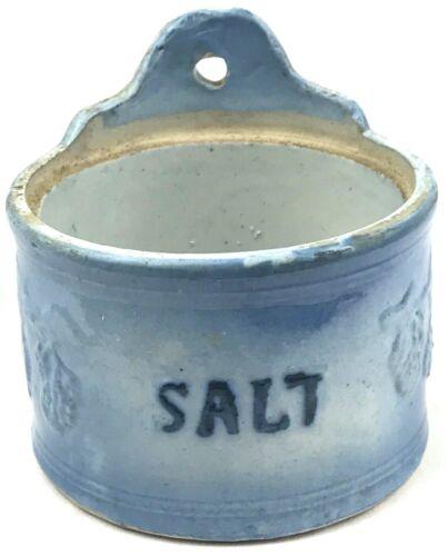 Antique Salt Crock Blue Glaze - Vintage Farmhouse Stoneware