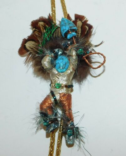 Handcrafted Dancing Kachina Warrior Bolo Tie Feathered Beaded