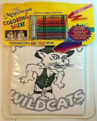 - ARIZONA WILDCATS Coloring Shirt w/ Fabric Crayons Art Craft Kit MagiCrayon Small