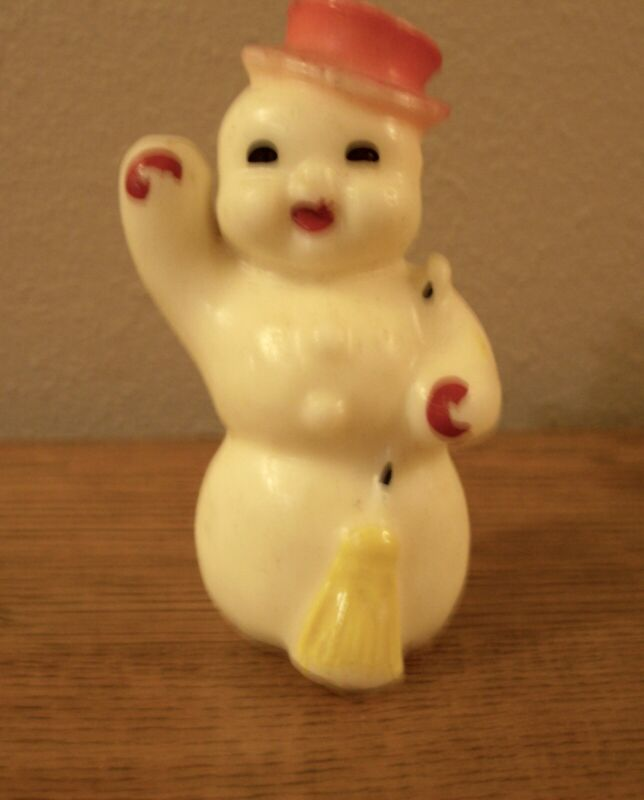 """Vintage 1950s Gurley Wax Frosty Snowman Figure Candle 5"""" Tall - old but unused"""