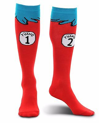 elope Dr. Seuss Thing 1 2 Adult Costume Socks Knee Highs Shoe Size 4-11 - Thing 1 Adult Costume