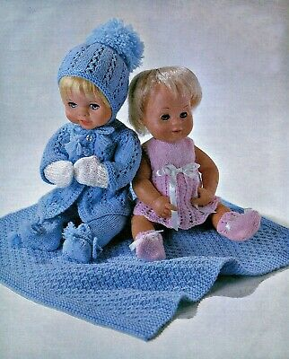"""Baby Dolls Clothes Knitting Pattern 4 ply 12 14 16"""" Pram Set & Blanket"""