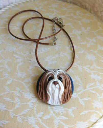 Bearded Collie Necklace/Brooch Sculpted Clay by Raquel  theWRC OOAK dog jewelry